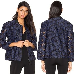 Kendall + Kylie Lace Bomber Jacket in True Navy